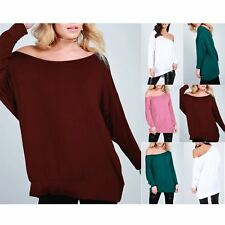 Ladies Womens Loose Fit Oversized Round Neck 3/4 Cuffed Sleeve Baggy Top T shirt