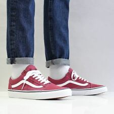 Vans Men's Old Skool Suede Canvas Shoes Dry Rose Red True White