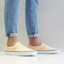 Vans Men's Classic Slip On Canvas Shoes Apricot Orange True White Checkerboard