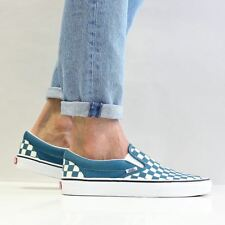 Vans Men's Classic Slip On Canvas Shoes Corsair Blue True White Checkerboard