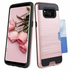 Samsung Galaxy S8 Plus Case Credit Card Holder Dual Layer Wallet Shockproof Case