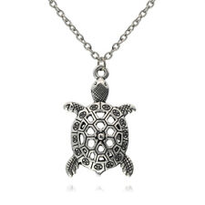 NEW Sea Turtle Pendant Tortoise Charm Black Necklace Silver Chain Jewelry Gift