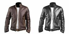 New UK Men's Cafe Racer Stylish Distressed Brown Biker Vintage Leather Jacket