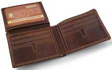 Top Vintage Biker Mens Leather Bifold Credit Card Holder Wallet Purse Hipster
