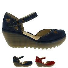 Ladies Fly London Yuna Strappy Closed Toe Strappy Mid Wedges Sandals All Sizes