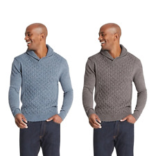 Marks & Spencer M&S T302236M Textured Shawl Neck Winter Wool Jumper RRP £29.50