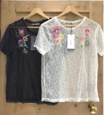 Zara LACE top size S 8 & M 10 SHEER FLORAL navy IVORY BNWT