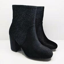 WOMENS LADIES BLACK ROSES VELVET ANKLE BOOTS BLOCK HIGH HEELS SHOES SIZE