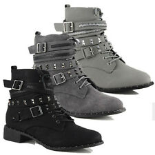 WOMENS BUCKLE STUDDED BIKER MILITARY PUNK GOTH ANKLE BOOTS LADIES SHOES SIZE 3-8