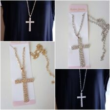 Long Crucifix Cross Crystal Pendant Necklace Gold Silver