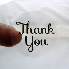 CLEAR TRANSPARENT ROUND BUSINESS THANK YOU STICKERS LABELS 25MM 37MM 45MM