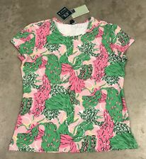 Melly M DONNA FANTASIA TECH SS Maglietta GOLF T-SHIRT LILLA Paisley floreale USA