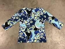 Melly M DONNA FANTASIA TECH LS Maglietta GOLF T-SHIRT LILLA Paisley floreale USA