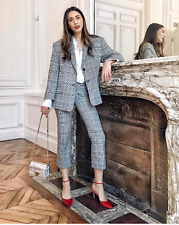 Zara STUDIO SS17 Checked Grey Cropped Suit Trousers Black White XS S M BNWT