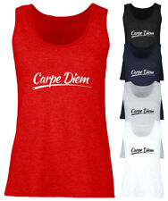 Ladies Carpe Diem Vest Womens Sleeveless Fitted Tank Top Tee