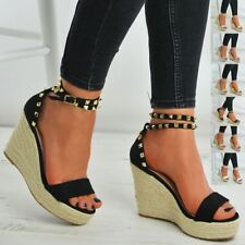 LADIES WOMENS WEDGE PLATFORMS HIGH HEELS ESPADRILLE STUDS SANDALS SHOES SIZE UK