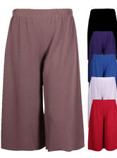 Womens summer 3/4 Length Cropped Wide Leg Culottes Trousers Pants Plus Size