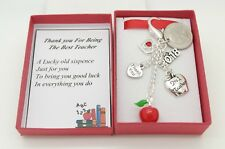 TEACHER GIFT.  RED APPLE CHARM. SIXPENCE KEYRING. END OF TERM GIFT