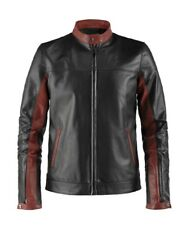 MENS DARK KNIGHT BATMAN GENUINE BLACK&RED LEATHER JACKET NEW UK