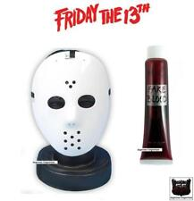 Jason Voorhees Fancy Dress Costume Hockey Mask & Blood Friday 13th Halloween