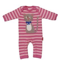 Toby Tiger Organic Cotton Kitty Applique Sleepsuit