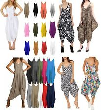 Womens Ali Baba Cami Strappy Romper Hareem Lagenlook Oversized Playsuit Jumpsuit
