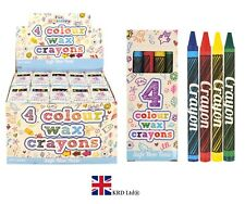 4Pcs CRAYON WAX PACKS Kids Birthday Party Bag Fillers Favors Toy Gift Box NEW UK