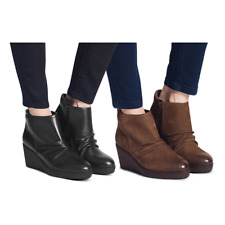 Marks&Spencer Footglove T028580 Leather Wedge Heel Side Zip Ankle Boots RRP £65
