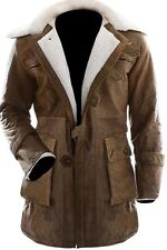 Bane Jacket Genuine Cow Hide Leather Buffing Brown Trench Coat Dark Knight Rises