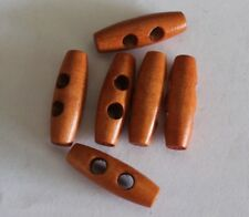 15 x 30mm Wooden Toggle 2 Hole Buttons Craft Jewellery Beading C100