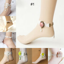 Bohemian Women Lace Flower Anklets Cosplay Beach Party Barefoot Ankle Bracelets