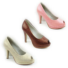 WOMENS PLATFORM MID HIGH HEEL PEEP TOE COURT SHOES LADIES SANDALS NEW SIZE 3-8