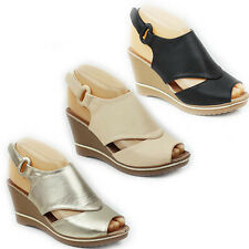 WOMENS CASUAL PLATFORM WEDGE HEEL PEEP TOE CUT OUT SANDALS LADIES SHOES SIZE 3-8