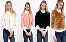 SALE Women Ladies Faux Fur Ribbed Cropped Jacket Coat Occasional Wedding Party