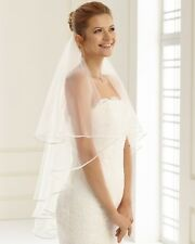 BN Ivory Bridal 2 Tiers Short / Elbow / Fingertip Length Veil with Satin Edge