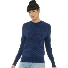 Fred Perry Womens Polka Dot Loopback Sweater French Navy 10 UK