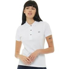 NEW Fred Perry Womens Polka Dot Collar Pique Shirt White 8 UK