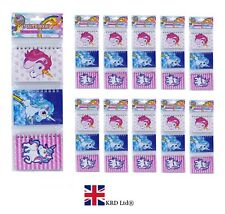 UNICORN NOTEBOOK SET Kids Birthday Gift Party Bag Filler Favors Notebooks Lot UK