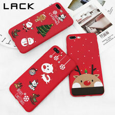 Santa Claus Elk Case For iPhone 7 Plus Cartoon Christmas Painted Cover Red Cases