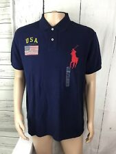 Polo Ralph Lauren Custom Fit Big Pony Shirt Mesh Pique USA Flag Navy