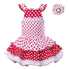Kid Girls Polka Dots Dress Summer Backless Curve For Holiday Birthday Party