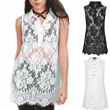 Womens Collared Button Ladies Floral Net Lace Sleeveless Swing Dress Blouse Top