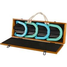 Backyard Games Horseshoe Set 2 Steel Stakes Wooden Storage Case Bottle Opener