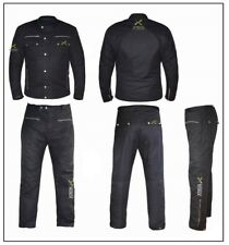 Black Classic Wax Cotton Vintage Style Motorcycle Jacket CE ARMOUR Motorbike WP