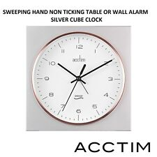 ACCTIM ALARM TABLE WALL CLOCK NEW MODERN SILVER SWEEPING HAND NON TICKING CLOCK