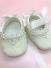 Baby Girls Ivory Lace Pearl Christening Wedding Shoes Pram Shoes 0 - 12 mths
