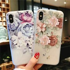 Silicon Case For iPhone X 5S SE 6 7 8 Plus Cover Pink Flowers Patterned Covers
