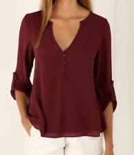 UK Women V Neck Casual Tops Long Sleeve Button Casual Loose Ladies Shirt Blouse