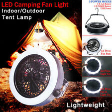 USB Fan Light Outdoor Camping LED Light Hanging Tent Lamp Portable With Hook