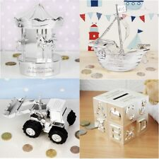 Personalised Engraved Silver Money Box Christening Gift Baptism New Baby Gift